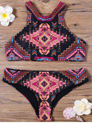 Cutout Geometrical Print High Neck Bikini Set
