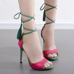 Lace Up Tassels Two Tone Sandals
