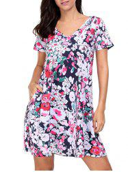 Floral V Neck Shift T Shirt Beach Dress