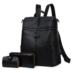 Front Zips PU Leather Backpack Set - BLACK