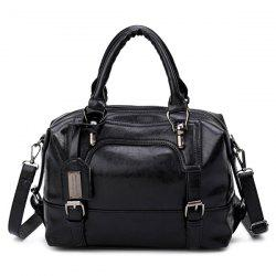 Buckle Straps Faux Leather Handbag