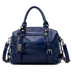 Buckle Straps Faux Leather Handbag - BLUE