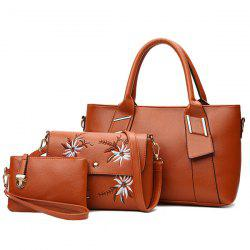 3 Pieces Faux Leather Handbag Set - BROWN