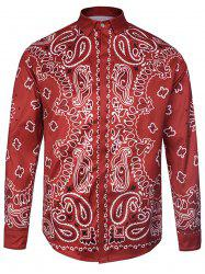 Cover Placket Paisley Print Curve Bottom Shirt