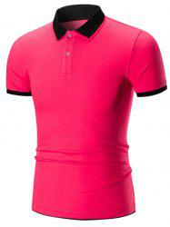 Double Layers Collar Two Tone Polo Shirt