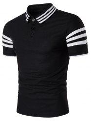 Short Sleeve Striped Design Polo T-Shirt