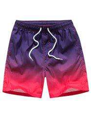 Straight Leg Ombre Drawstring Board Shorts