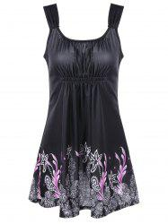 Ruched Floral Tankini Set - BLACK