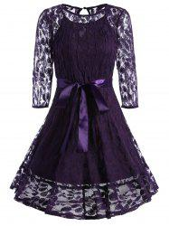 Lace Overlay A Line Belted Dress - Pourpre