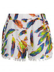 Leaves Print Tassels High Waist Shorts - WHITE