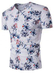 Pan Kou Design Florals Print Cotton Linen T-Shirt