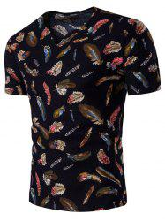 Short Sleeve Cotton Linen Feather Print T-Shirt