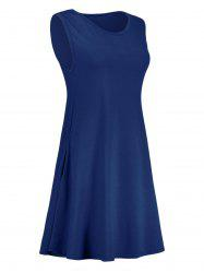 Pocket Trapeze Mini Dress - DEEP BLUE