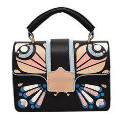 Butterfly Print Cross Body Handbag - BLACK
