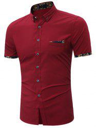 Short Sleeves Button Down Shirt - WINE RED
