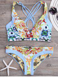 Strappy Cross Back Floral Reversible Bikini Set