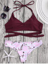 Ensemble de bikini floral Halter Wrap - Rouge Vineux
