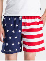 Stars and Stripes Print Drawstring Board Shorts