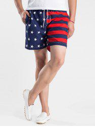Stars and Stripes Print Drawstring Board Shorts - RED