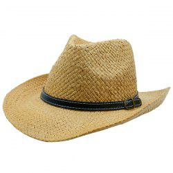 Woven Straw Hat with Detachable Faux Leather Belt - KHAKI
