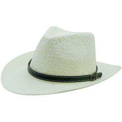 Woven Straw Hat with Detachable Faux Leather Belt