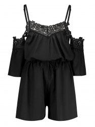 Cold Shoulder Lace Insert Romper - Noir