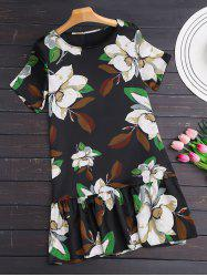 Short Sleeve Floral Dropped Waist Dress