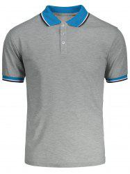 Color Block Short Sleeves Polo Shirt - GRAY