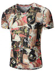 Anime Printed V Neck Tee