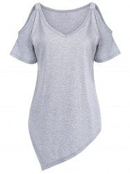 Asymmetric Open Shoulder Plus Size V Neck T-Shirt