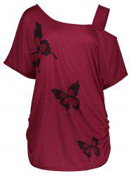 Cold Shoulder Butterfly Print Plus Size Top