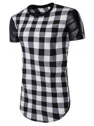 Side Zip Up PU Leather Panel Plaid Longline T-Shirt - BLACK
