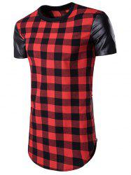 Side Zip Up PU Leather Panel Plaid Longline T-Shirt