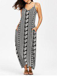Elephant Print Trapeze Maxi Slip Dress - WHITE AND BLACK