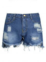 Ripped High Waisted Denim Shorts - BLUE
