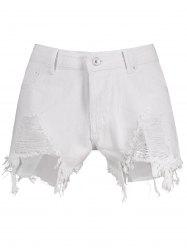 High Waisted Ripped Denim Shorts - WHITE