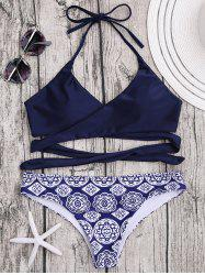 Printed Halter Wrap Bikini Set - PURPLISH BLUE M