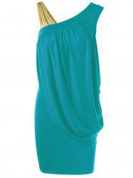 One Strap Skew Collar Slimming Drape Dress