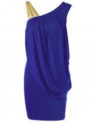 One Strap Skew Collar Slimming Drape Dress - BLUE