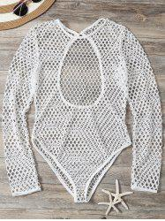 Openwork See-Through Bodysuit Cover Up - WHITE M