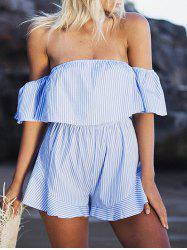 Off The Shoulder Striped Flounce Romper - Bande Bleu XL