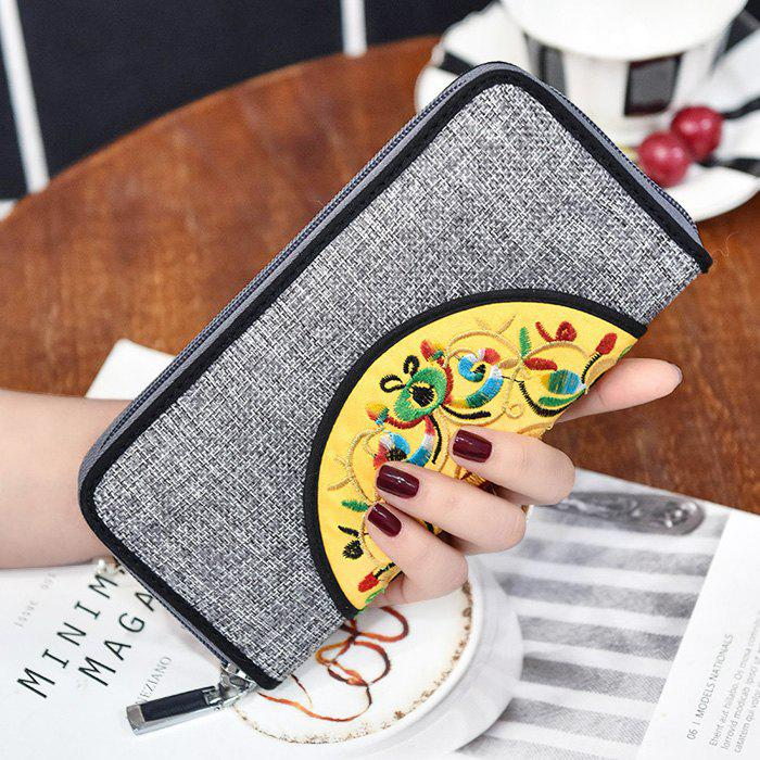 Affordable Ethnic Embroidered Zip Around Wallet