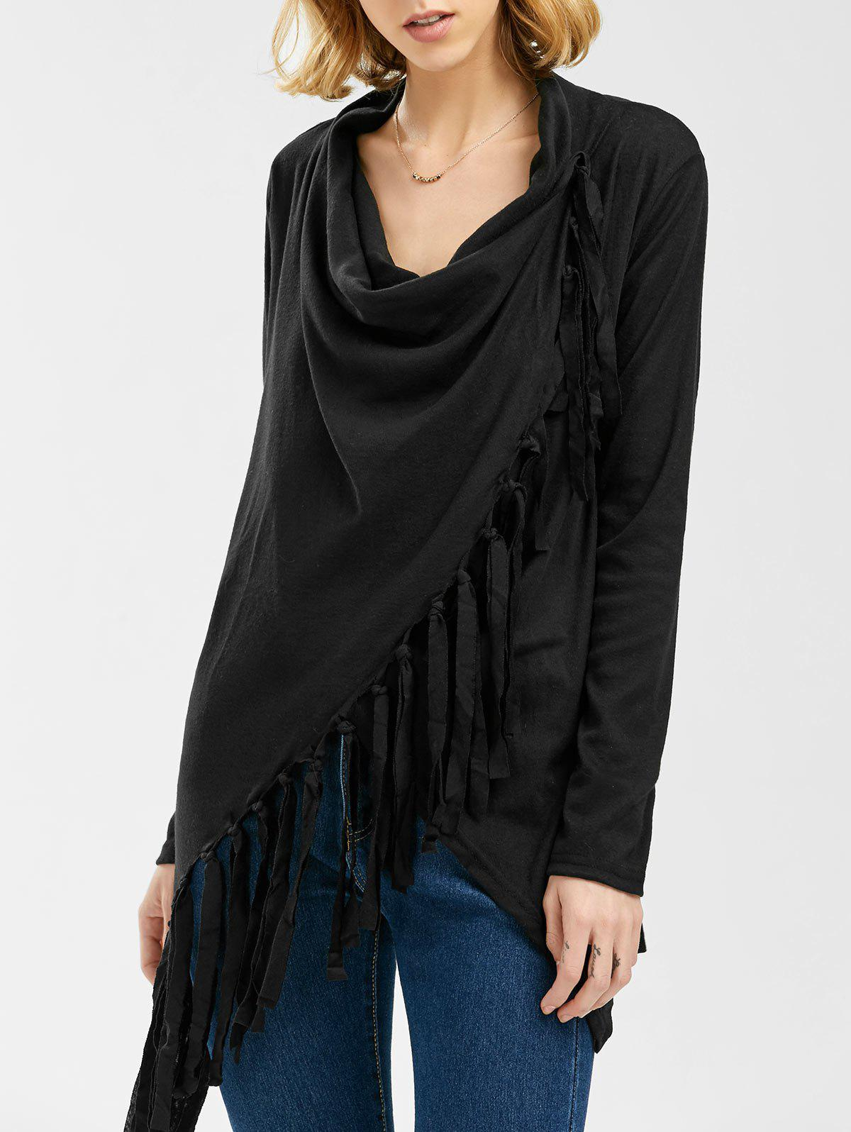 Tassel Asymmetric Long Sleeve TopWOMEN<br><br>Size: M; Color: BLACK; Material: Polyester; Sleeve Length: Full; Collar: Cowl Neck; Style: Fashion; Embellishment: Tassel; Pattern Type: Solid; Weight: 0.3300kg; Package Contents: 1 x T-Shirt;