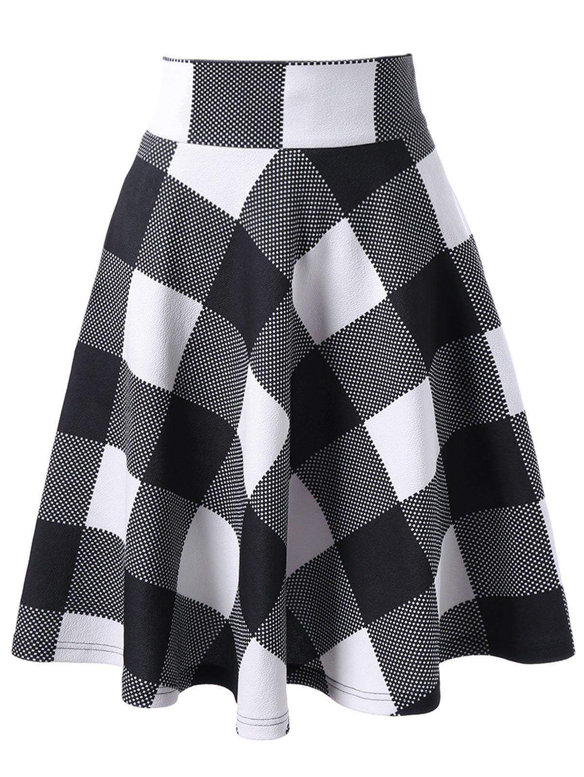 Online Checked High Waisted Skirt