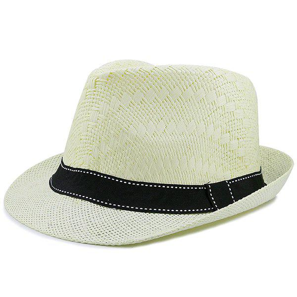 Affordable Sunproof Ribbon Splicing Woven Straw Hat
