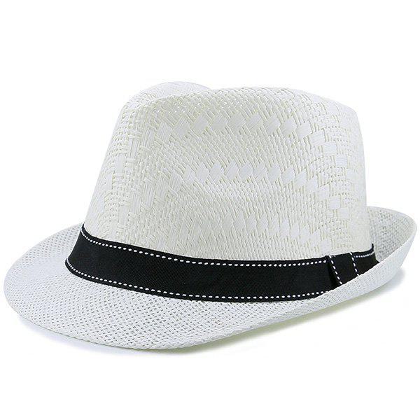 Sunproof Ribbon Splicing Woven Straw HatACCESSORIES<br><br>Color: WHITE; Hat Type: Straw Hat; Group: Adult; Gender: Unisex; Style: Fashion; Pattern Type: Solid; Material: Straw; Circumference (CM): 56-58CM; Weight: 0.1100kg; Package Contents: 1 x Hat;
