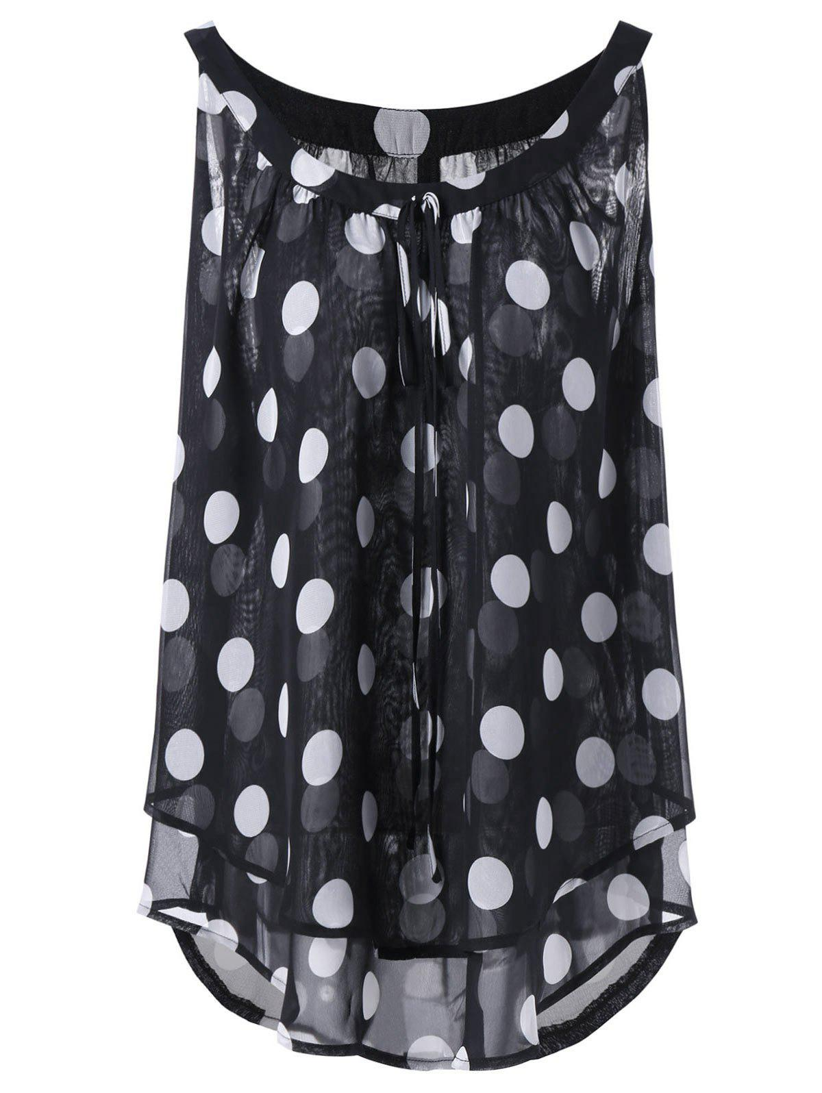 Plus Size Polka Dot Printed  Chiffon Flowy TopWOMEN<br><br>Size: 4XL; Color: BLACK; Material: Cotton Blends,Polyester; Fabric Type: Chiffon; Shirt Length: Long; Sleeve Length: Sleeveless; Collar: Round Neck; Style: Fashion; Season: Spring,Summer; Pattern Type: Polka Dot; Weight: 0.1800kg; Package Contents: 1 x Top;