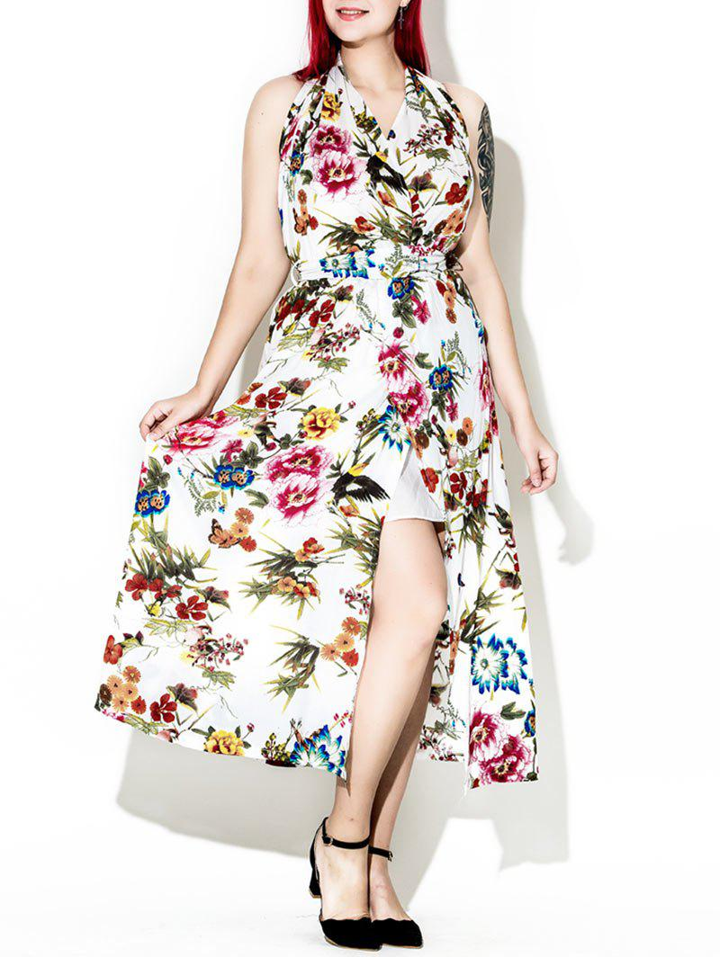 Latest Plus Size Halter Neck Floral Backless Prom Maxi Dress