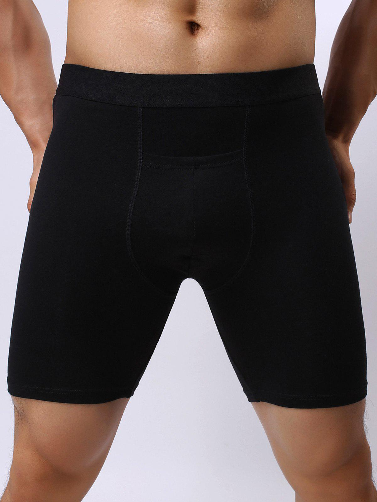 Stretch Front Pocket Design ShortsMEN<br><br>Size: 2XL; Color: BLACK; Type: Boxers; Material: Cotton,Spandex; Waist Type: Mid; Gender: Men; Pattern Type: Others; Weight: 0.1500kg; Package Contents: 1 x Shorts;