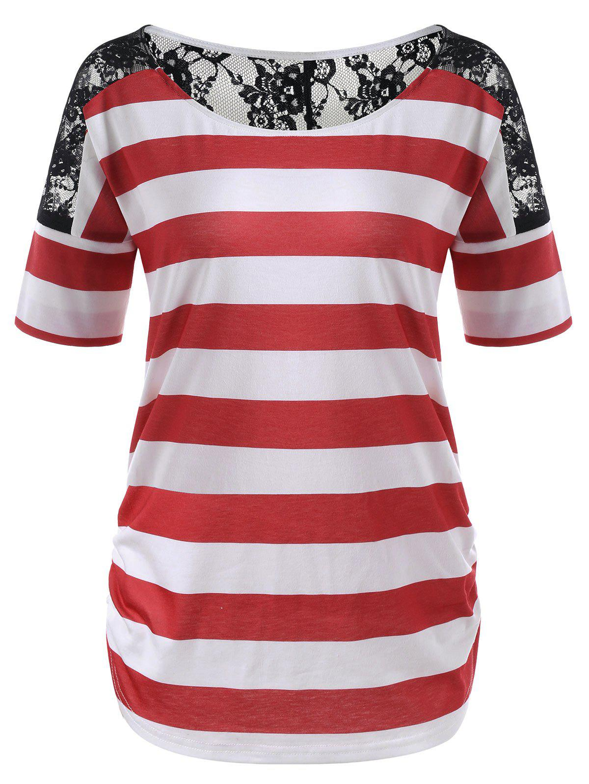 New Lace Trim Striped Tee